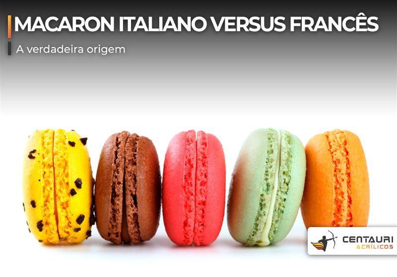 Macarons coloridos um ao lado do outro