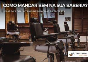 Barbearia com cadeiras vazia