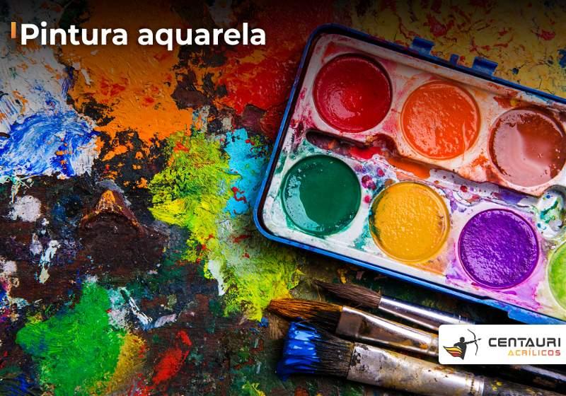 Paleta de tintas aquarela sobre pintura com aquarela