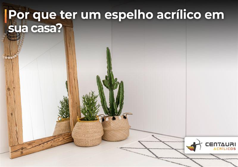 Espelho com moldura apoiado em chão ao lado de vasos com planta