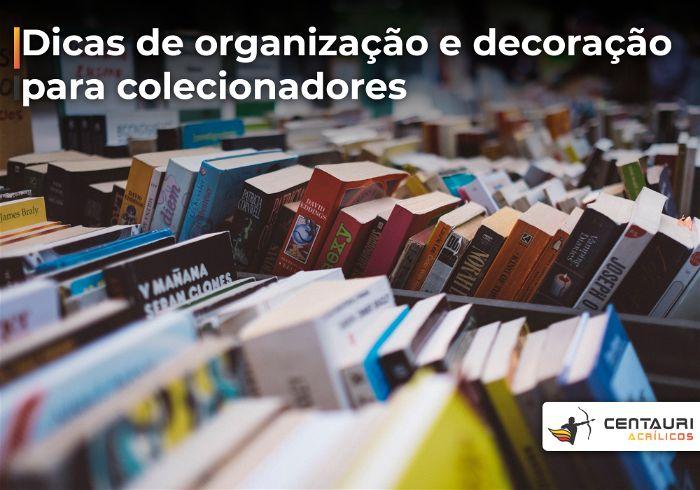 Diversos livros e itens de colecionadores enfileirados em uma estante