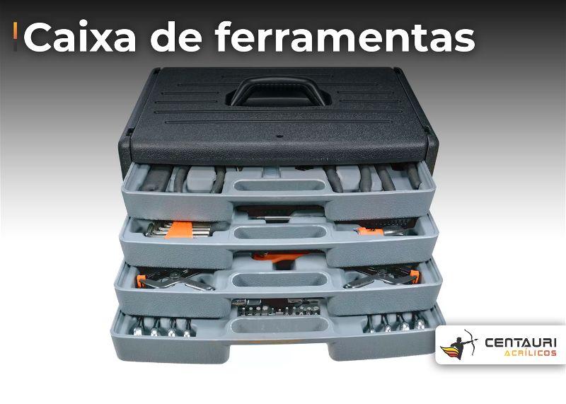 caixa de ferramenta organizadora na cora cinza de 4 andares