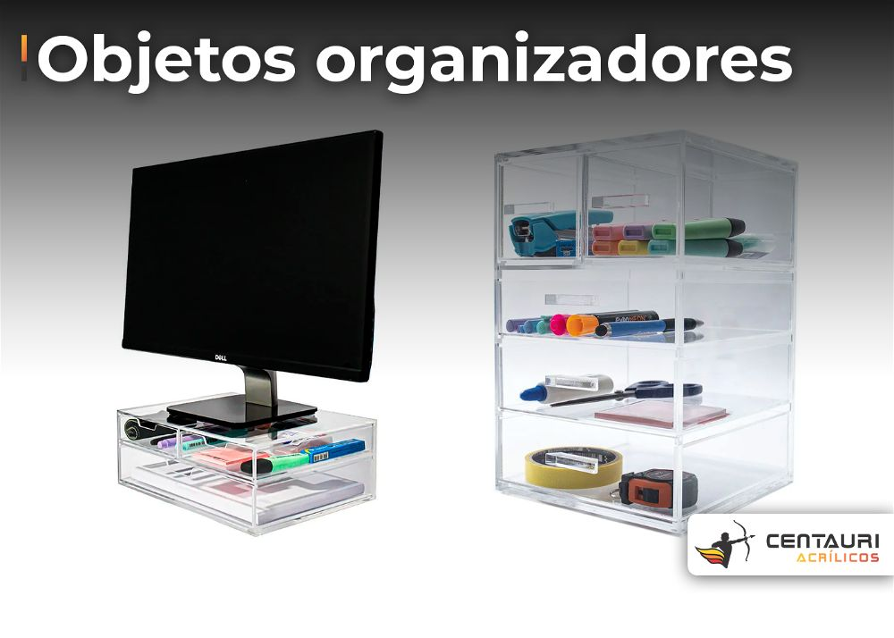 suporte em acrílico para monitor e organizador em acrílico transparente