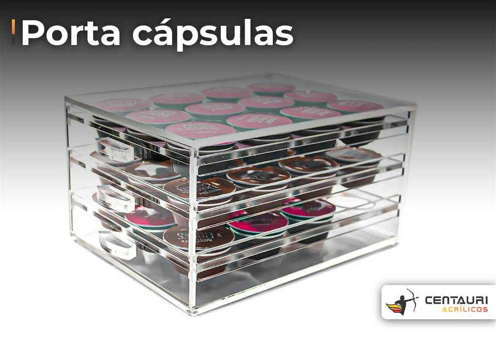 porta capsulas e café em acrilico transparente de três andares