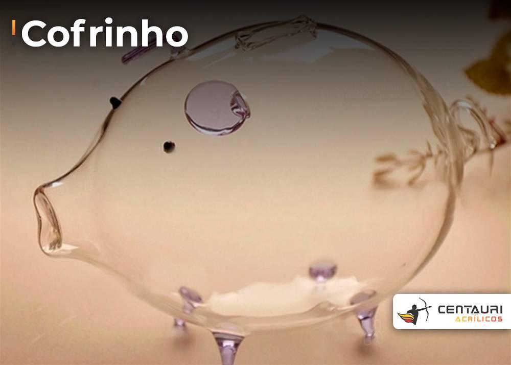 cofrinho tradicional, em formato de porquinho, todo em acrílico transparente