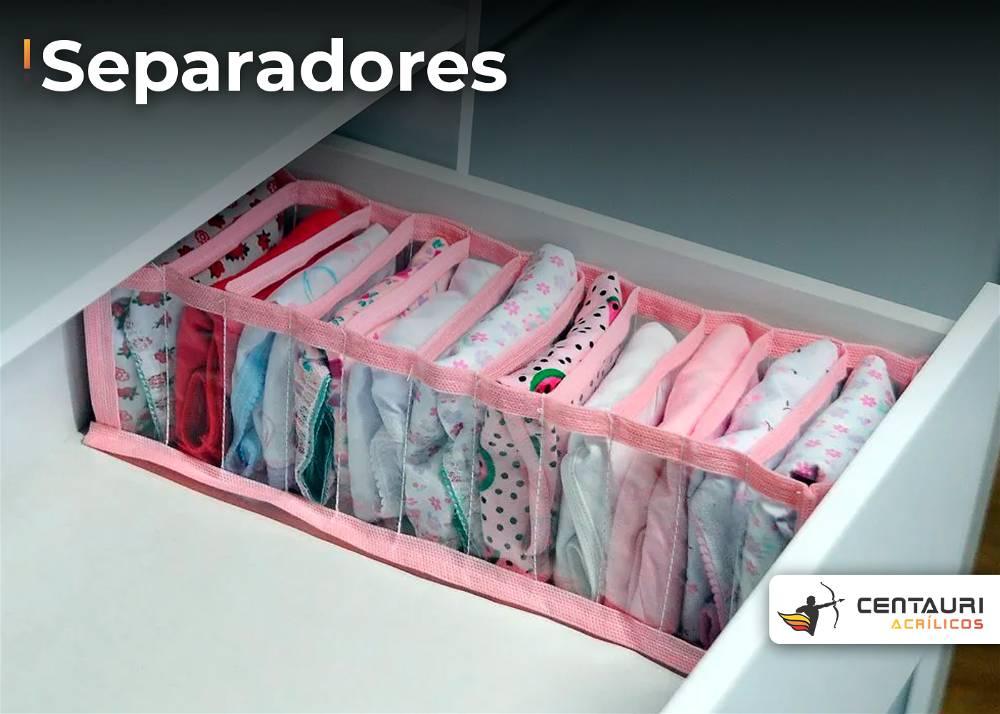 separadores em acrílico, para gavetas.