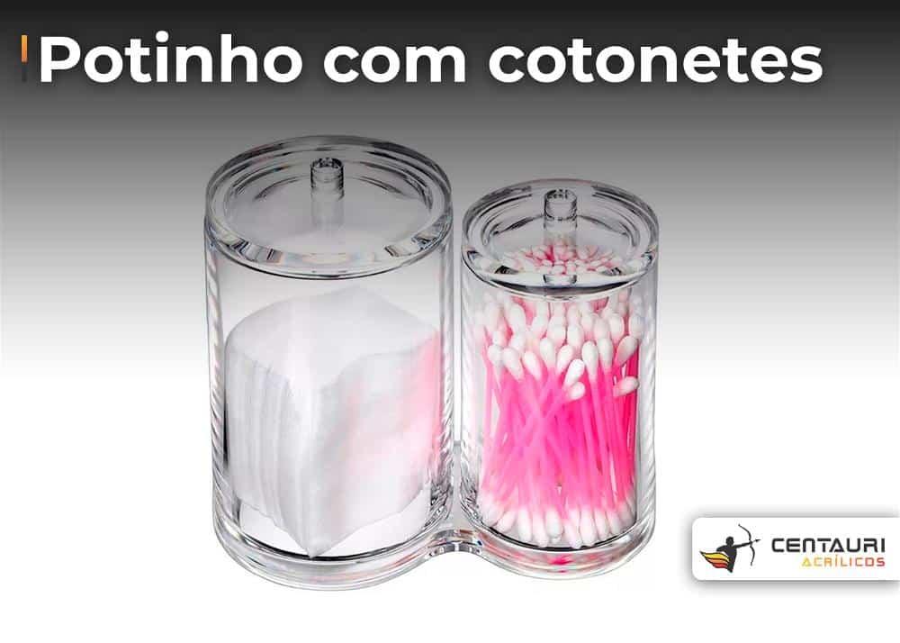 potinho de acrílico transparente com cotonete de hastes flexíveis na cor rosa