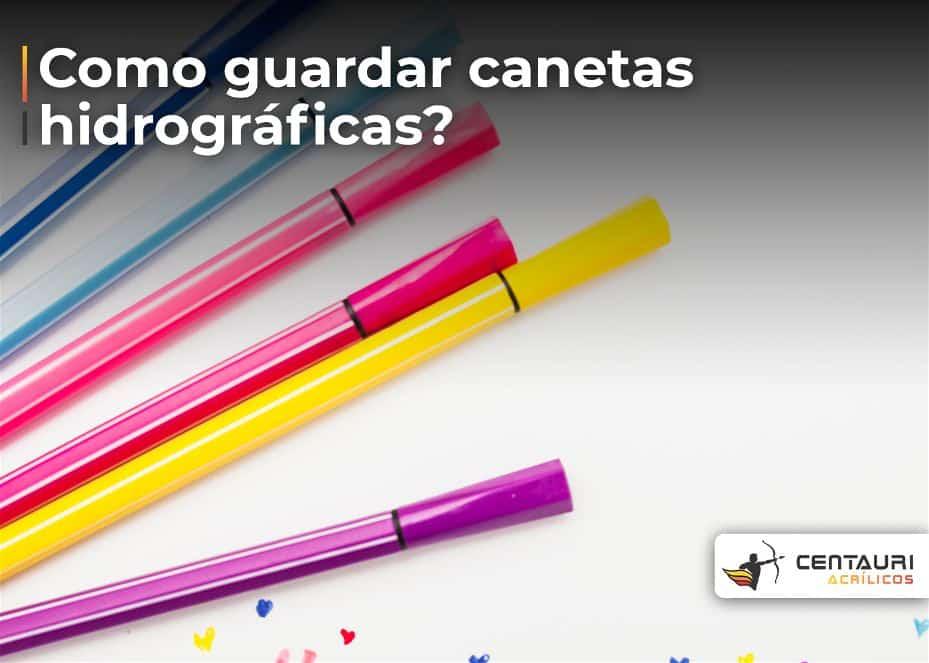Foto de cinco canetas hidrográficas coloridas uma do lado da outra