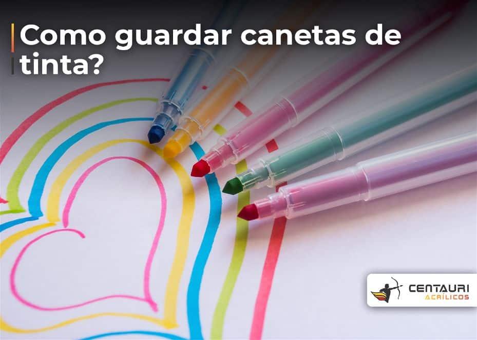 Foto de cinco canetas coloridas um do lado da outra com um coração em baixo