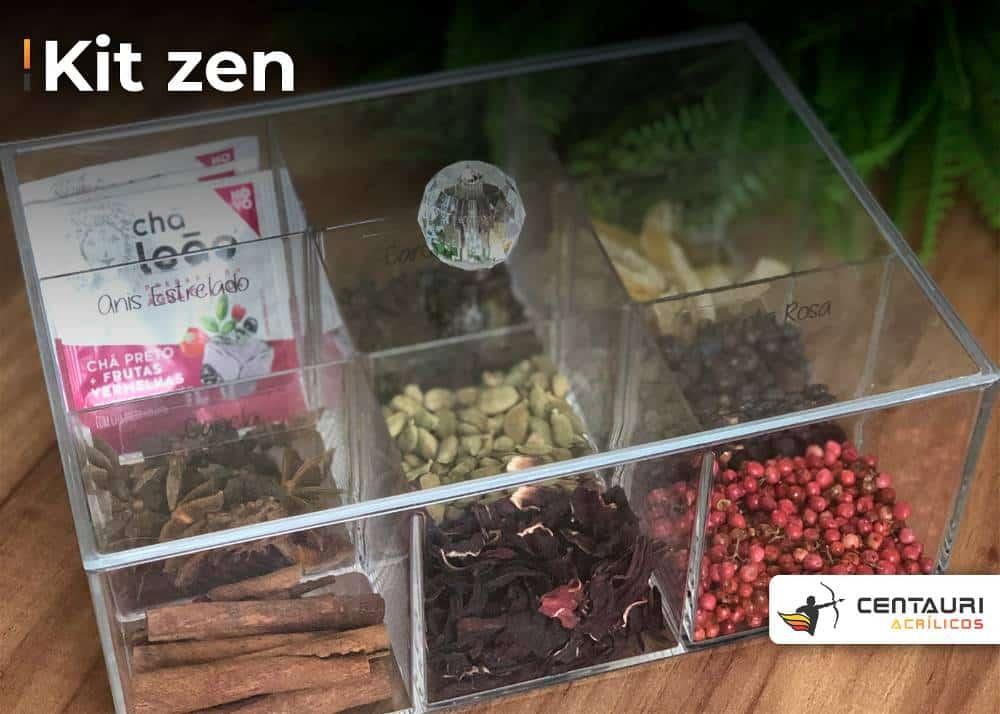 Kit zen em acrílico. com chás e algumas sementes.