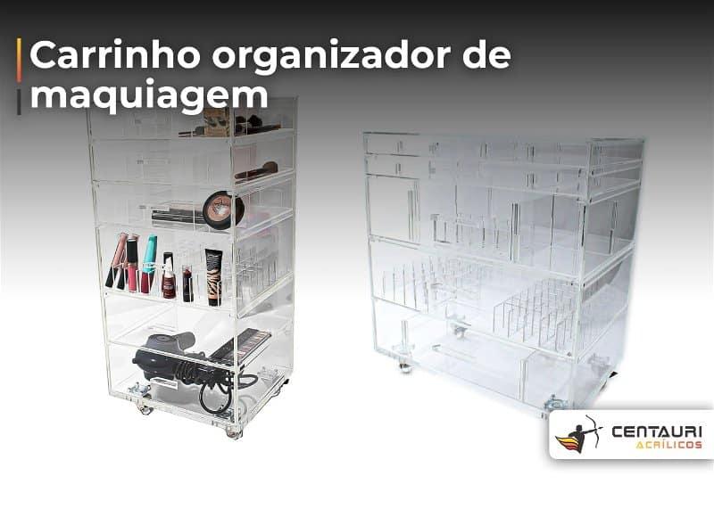 Imagem com dois modelos de carrinho organizador de maquiagem, um está com maquiagens e outro está vazio