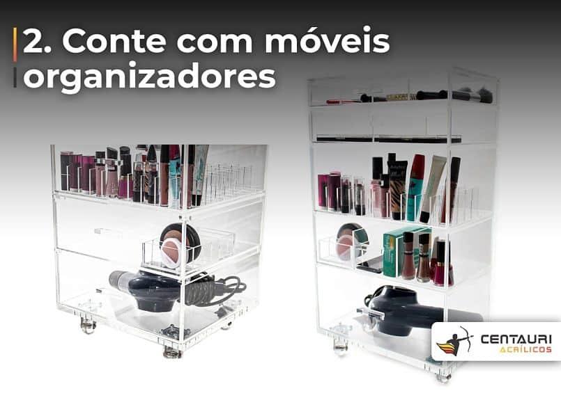carrinho organizador de maquiagem
