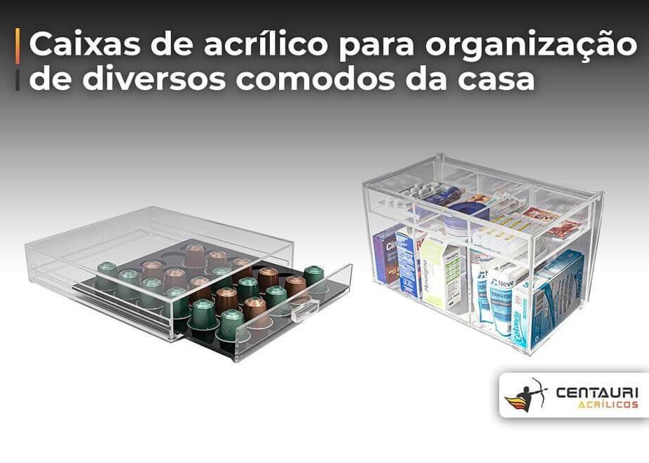 organizador de acrílico com remédio e capsulas de café