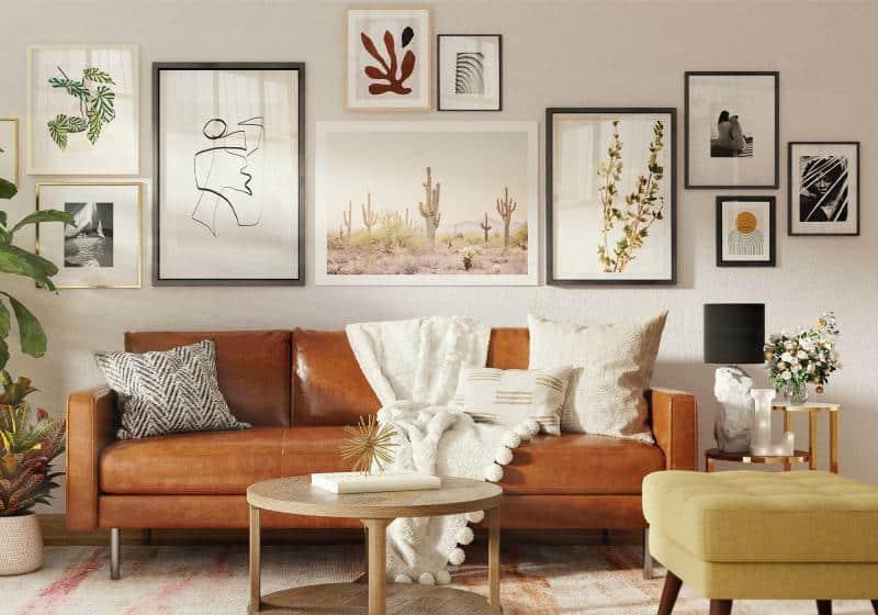 decoração de primavera na sala de estar